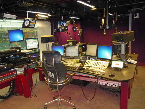 One of the new studios with typical IDS display for time and status, an IP encoded camera and IDS TS3 Presenter unit.